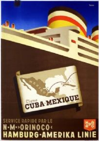 Vintage Hapag travel poster - Cuba, Mexique